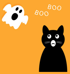 happy halloween background black cat looking up vector image