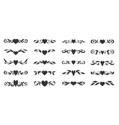 heart floral wing divider love tatoo border vector image