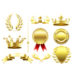 Heraldic 3d elements royal crowns and shields vector