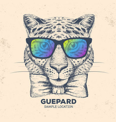 Hipster animal guepard hand drawing muzzle vector