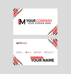 Horizontal name card with bm logo letter and vector