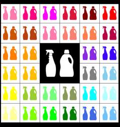 Household chemical bottles sign felt-pen vector
