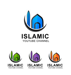 Islamic mosque iconic logo vector