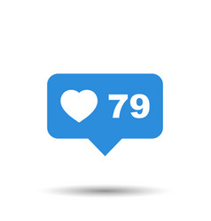 Like comment follower icon blue flat with heart vector
