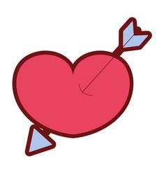 line color arrow design inside heart love icon vector image