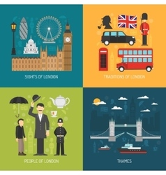 London concept 4 flat Icons square vector image
