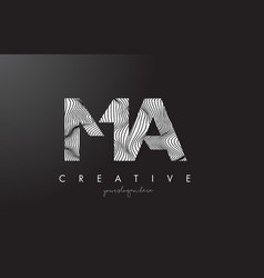 Ma m a letter logo with zebra lines texture vector