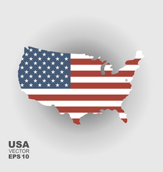 map of usa with an official flag on vector image