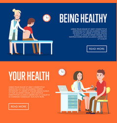 Medical examination and healthcare posters vector