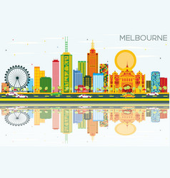 Melbourne skyline with color buildings blue sky vector