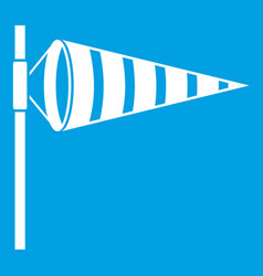 Meteorology windsock inflated by wind icon white vector