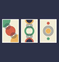 minimalistic geometric art wall posters set vector image
