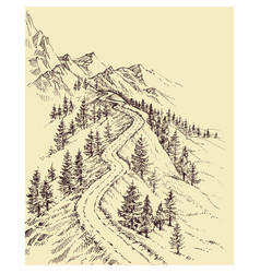 Mountain road alpine landscape vector