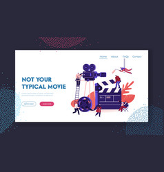 Movie making process website landing page vector