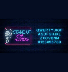 neon stand up show sign with retro microphone vector image