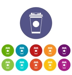 Paper coffee cup set icons vector