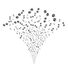 Paw footprints fountain stream vector