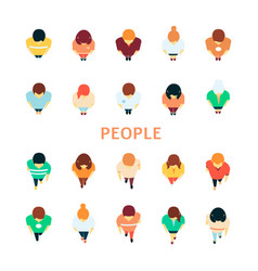 People in crowd top view icon set vector