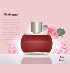 Perfume cosmetics and perfume ads template silver vector