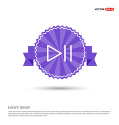 play pause icon - purple ribbon banner vector image