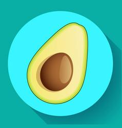 realistic avocado icon cut vector image