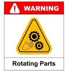 Rotating Parts Hazard sign vector image
