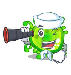 Sailor with binocular cartoon microbes on the vector