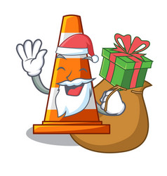 Santa with gift on traffic cone against mascot vector