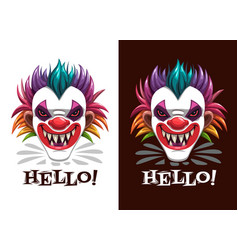 scary circus print creepy clown mask on black vector image