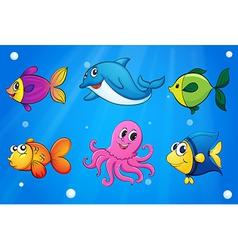 Sea creatures under the sea vector