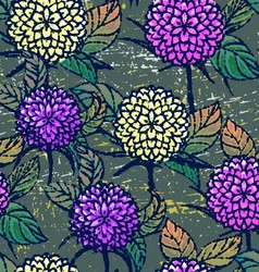Seamless pattern with autumn chrysanthemums vector image