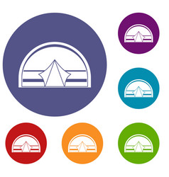 Semicircular tent icons set vector