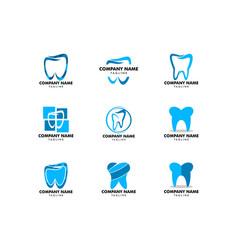 set dental logo template icon design vector image