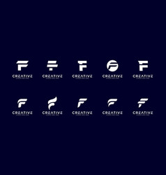 set initial letter f logo design template vector image