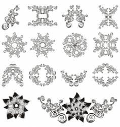 set of decorative floral elements vector image