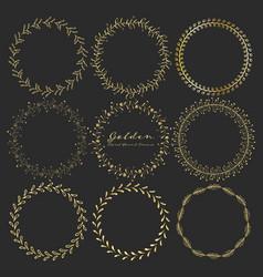 set of golden floral round frames for decoration vector image