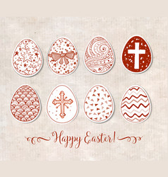 set of hand-drawn ornated paper-cut easter eggs vector image