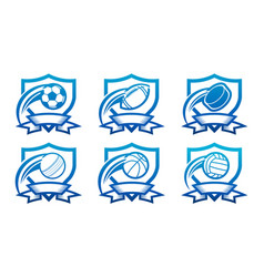 set various sport emblem icons vector image