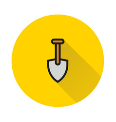 shovel icon on round background vector image vector image