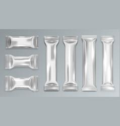 Silver glossy chocolate bar polyethylene package vector