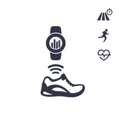 Smart shoe running training icons on white vector