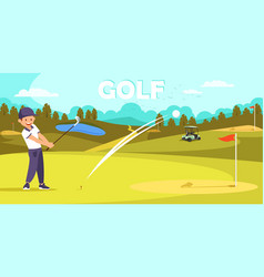 Smile man in sport uniform hit ball with golf club vector