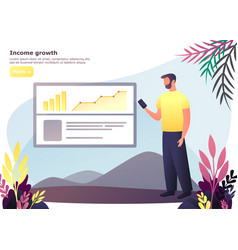 speaker man with phone near board with chart vector image