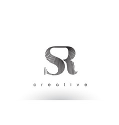 Sr logo design with multiple lines and black vector
