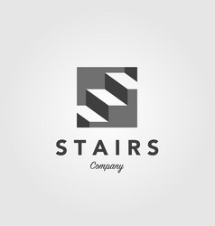 stair negative space step up logo icon vector image