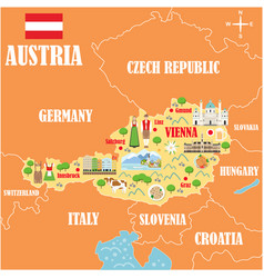 Stylized map austria vector