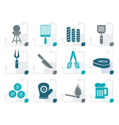 Stylized picnic barbecue and grill icons vector