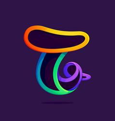 T letter one line rainbow colors logo vector