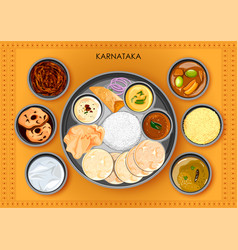 Traditional karnatakan cuisine and food meal thali vector