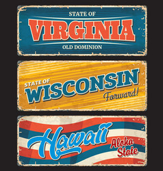 Usa states virginia wisconsin hawaii sign plates vector